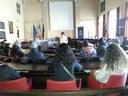 Un gruppo in visita alla Sala del Consiglio Comunale